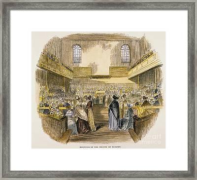 Quaker Meeting, 1843 Framed Print by Granger
