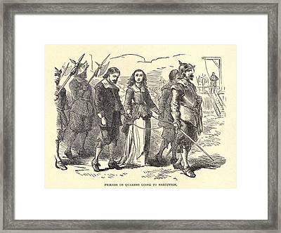 Quakers Lead To Their Execution. Mary Framed Print by Everett