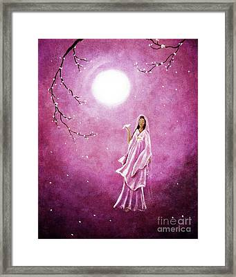 Quan Yin In The Rosy Dawn Framed Print by Laura Iverson