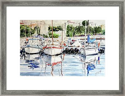 Quattro Barche Al Pennello Di Bonaria Framed Print by Giovanni Marco Sassu