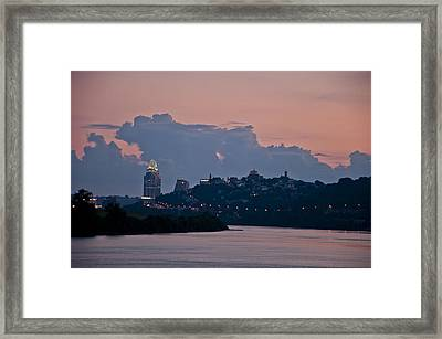 Queen City Via The Ohio River Framed Print by Russell Todd