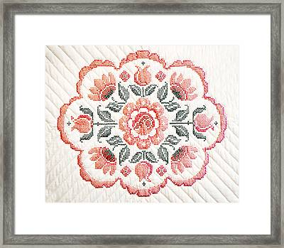 Quilted Centerpiece Framed Print by Marilyn Hunt