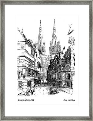 Quimper Cathedral France 1457ad Framed Print by John Cullen