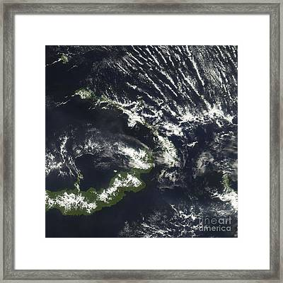 Rabaul Volcano On The Island Of Papua Framed Print by Stocktrek Images