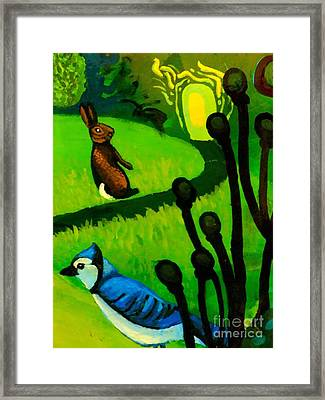 Rabbit And Blue Jay Framed Print by Genevieve Esson