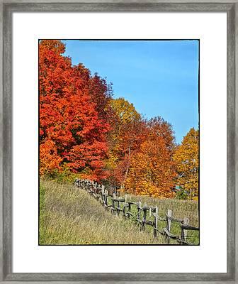 Rail Fence In Fall Framed Print by Peg Runyan