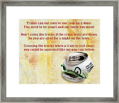 Rail Road Safety In Red Framed Print by Andee Design