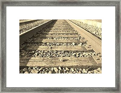 Rail Time Framed Print by Sharon Farris