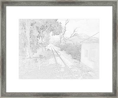Railroad Crossing In Pencil Sketch Look On The Way From Mycenae To Olympia In Greece Framed Print by John Shiron
