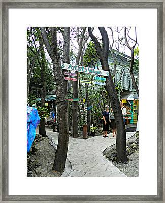 Rain Barrel Artists Village Framed Print by Tammy Chesney