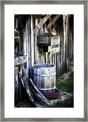 Rain Barrel Geranium Framed Print by Melissa  Connors