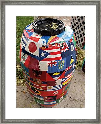 Rain Barrel Framed Print by Luis Lugo