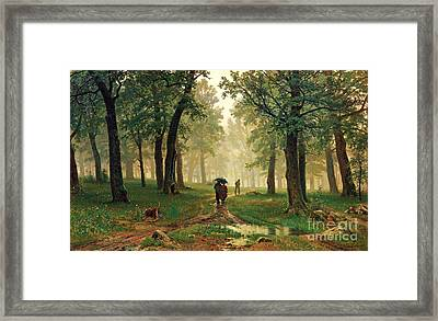 Rain In The Oak Forest Framed Print by Pg Reproductions
