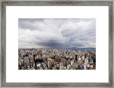 Rain Shower Approaching Downtown Sao Paulo Framed Print by Jeremy Woodhouse