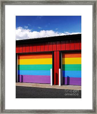 Rainbow Garage Framed Print by HD Connelly