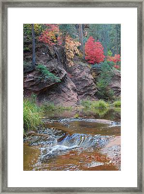 Rainbow Of The Season And River Over Rocks Framed Print by Heather Kirk