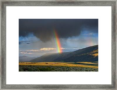 Rainbow Over Lamar Valley Framed Print by Yvonne Baur