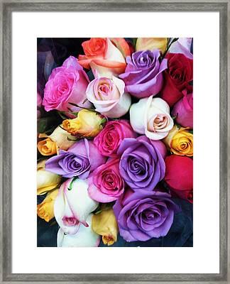 Rainbow Rose Bouquet Framed Print by Anna Villarreal Garbis