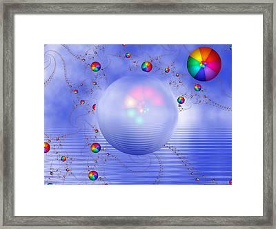 Rainbow Sphere On Blue Lake Framed Print by Pam Blackstone