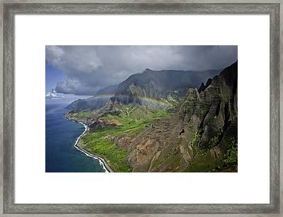 Rainbow To Kalalau Valley Napali Coast State Park Framed Print by Trish McGinity