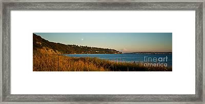 Rainier Full Moon Framed Print by Mike Reid