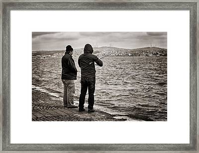 Rainy Day Fishing Framed Print by Joan Carroll