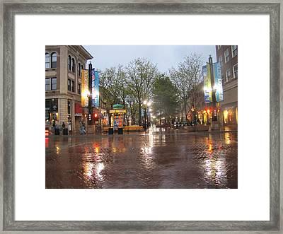 Rainy Night In Boulder Framed Print by Shawn Hughes