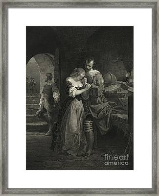 Raleigh Parting With Wife, 16th Century Framed Print by Photo Researchers