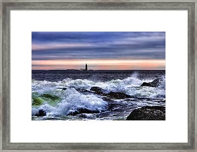 Ram Island Ledge Light Framed Print by Rick Berk