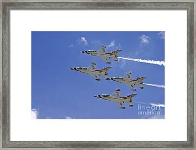 Rare Usaf Thunderbirds Diamond Pass Framed Print by Tim Mulina