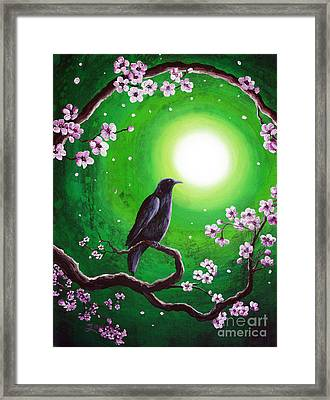 Raven On A Spring Night Framed Print by Laura Iverson