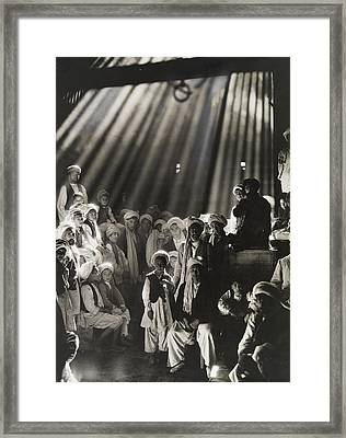 Rays Of Sunlight Shine On Men And Boys Framed Print by Maynard Owen Williams