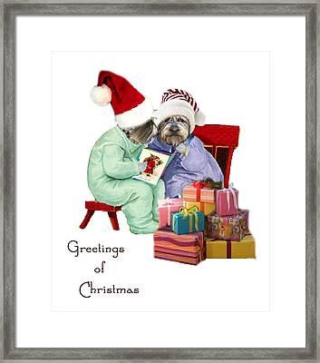 Reading A Christmas Story Framed Print by Alexandra  Sanders