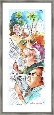Reading The News 07 Framed Print by Miki De Goodaboom