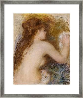 Rear View Of A Nude Woman Framed Print by Pierre Auguste Renoir