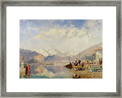 Recollections Of The Lago Maggiore Market Day At Pallanza Framed Print by James Baker Pyne