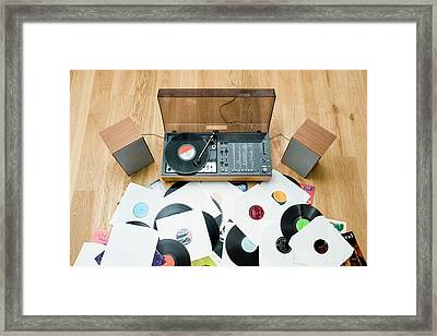 Records Lying On Floor By 1970?s Stereo System Framed Print by Jorg Greuel