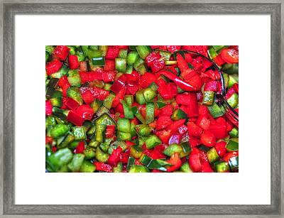 Red And Green Peppers Framed Print by Paul Ward