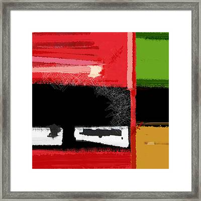 Red And Green Square Framed Print by Naxart Studio
