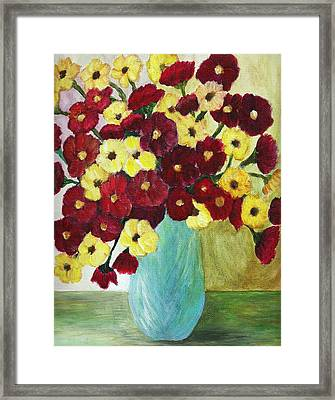 Red And Yellow Bouquet In Blue Framed Print by Christy Saunders Church