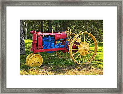 Red And Yellow Tractor Framed Print by Garry Gay