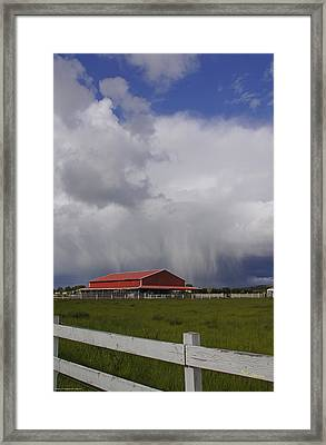 Red Barn And Stormy Sky Framed Print by Mick Anderson