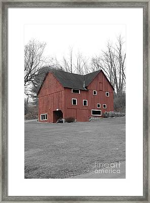 Red Barn In Black And White Framed Print by Randy Edwards