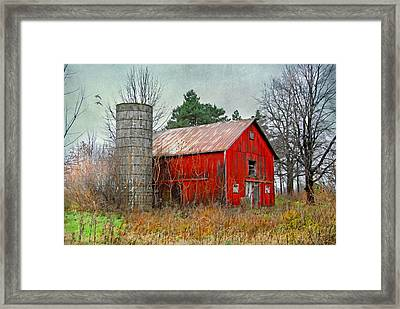 Red Barn Framed Print by Mary Timman