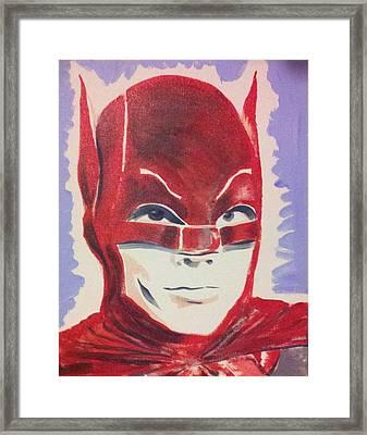 Red Batman Framed Print by Ronald Greer