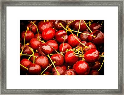 Red Cherries Framed Print by Jen Morrison