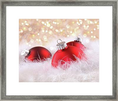 Red Christmas Balls With Abstract Background Framed Print by Sandra Cunningham