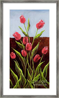 Red Delight-tulips Framed Print by Vic  Mastis