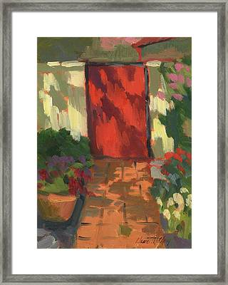 Red Door - Shadow And Light Framed Print by Diane McClary