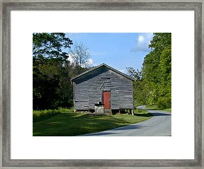 Red Door Of The One Room School House Framed Print by Douglas Barnett